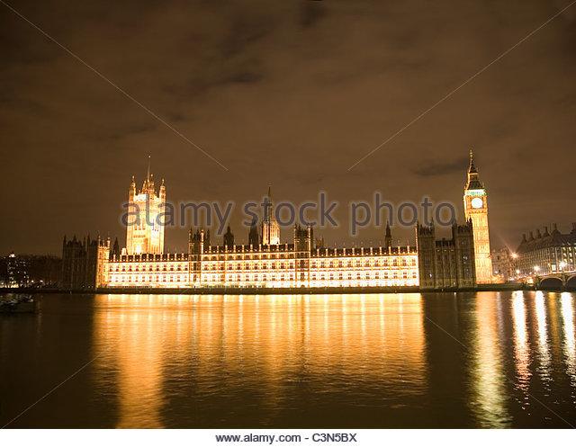 Houses of Parliament und Big Ben, Nacht Stockbild