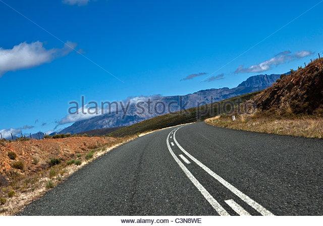 Südafrika, Western Cape, Worcester. Hauptstraße nach Montagu. Stockbild