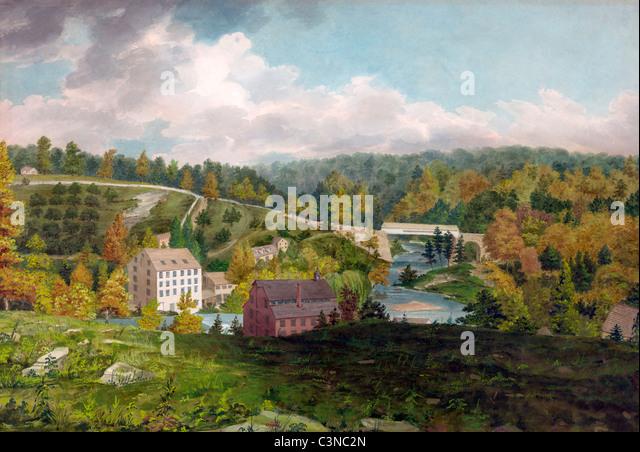 Mühle am Brandywine, Delaware, USA, Stift und Aquarell, ca. 1828 Stockbild
