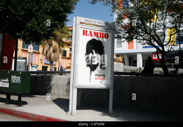 Rambo Film Werbung Streetart Schablone Stil Hollywood visuelle Chaos Film Industrie LA Los Angeles Street Szene Stockbild