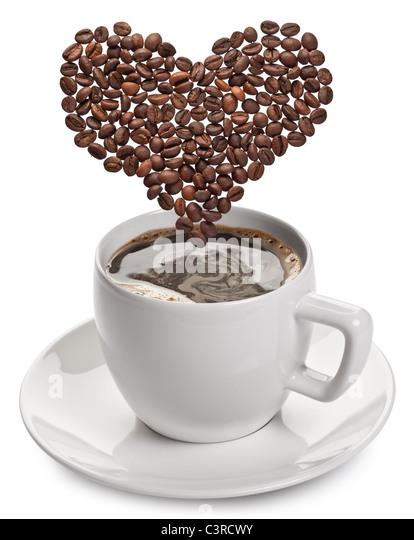Kaffeetasse auf weißem Hintergrund. Stockbild