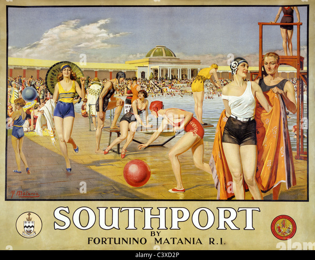 Southport, durch Fortunino Matania. England, Anfang des 20. Jahrhunderts Stockbild