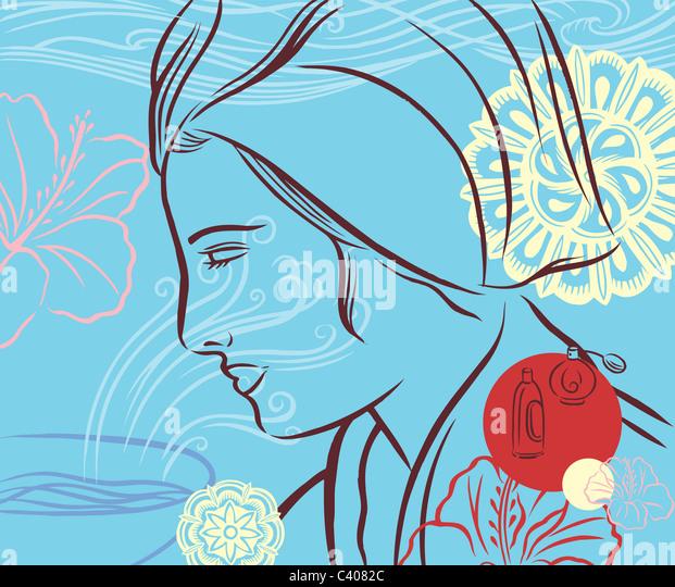 Abbildung einer Frau trägt ein Handtuch auf dem Kopf Stockbild