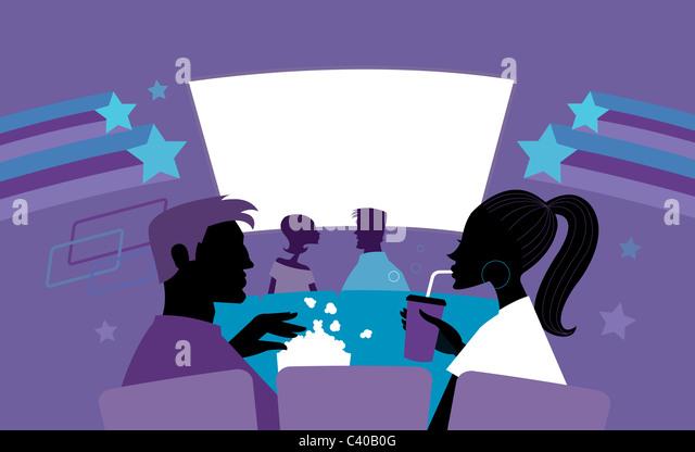 Abbildung von Mann und Frau in den Kinos Stockbild