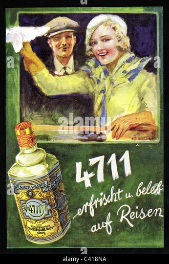 Werbung, Kosmetik, 4711, 1930er Jahre, 30er Jahre, 20. Jahrhundert, historische, historischer, Parfüm, Duft, Stockbild