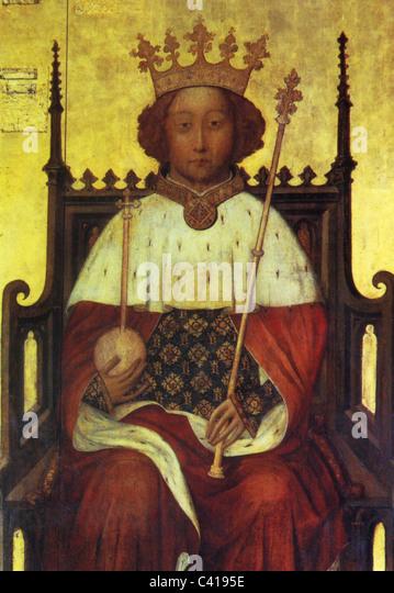 Richard II, 6.1.1367 - 14.2.1400, König von England 16.7.1367 - 29.9.1399, halbe Länge, auf dem Thron Stockbild