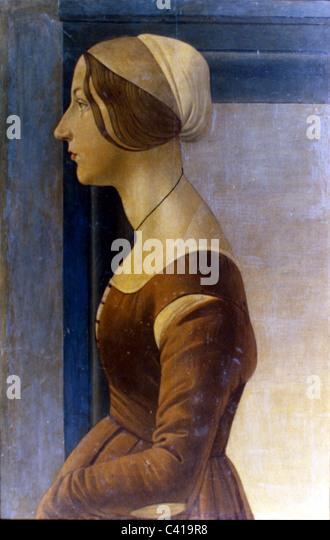 Kunst, Botticelli, Sandro (1444/1445 - 1510), Malerei, 'Portrait einer jungen Frau', Öl auf Platte, Stockbild
