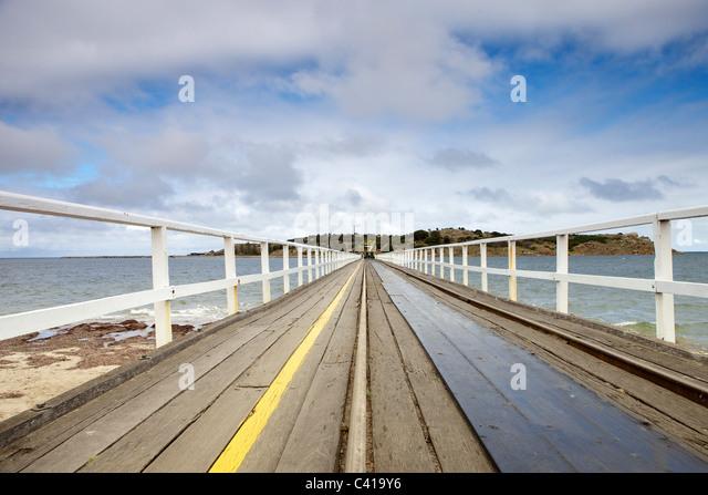 Victor Harbor, Granite Island und Clydesdale gezogene Straßenbahn Stockbild
