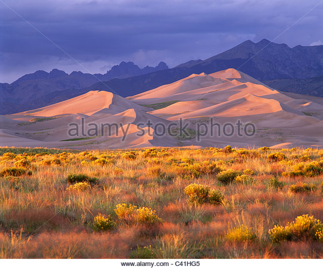 Great Sand Dunes National Park und Konserve, Colorado. Stockbild