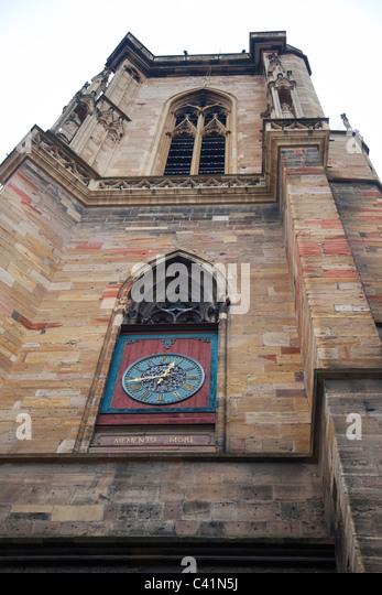 Uhr Turm von St. Martin Church, Colmar, Frankreich Stockbild