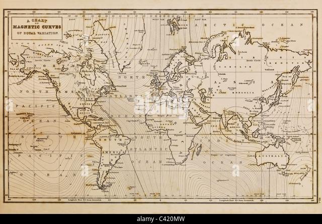 Foto einer echten Hand gezeichneten Weltkarte, sie wurde im Jahre 1844 und daher sind die Länder genannt, da Stockbild