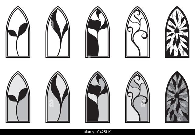Vektorgrafiken mit isolierten Glasfenster Stockbild