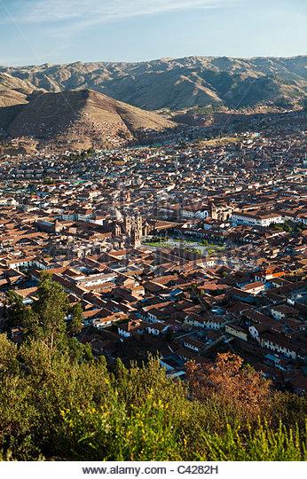 Cusco, Peru, Cuzco, Panorama Blick vom Aussichtspunkt Cristo Blanco. UNESCO-Weltkulturerbe. Stockbild