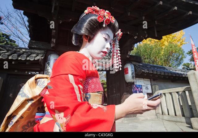 Asien, Japan, Honshu, Kyoto, Weiblich, Frau, Frauen, japanerin, Japanerinnen, Asiatin, Asiatinnen, Maiko, Maikos, Stockbild