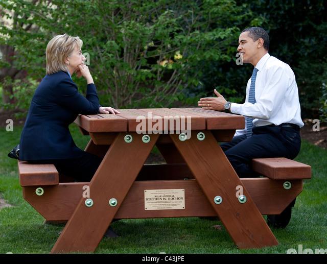 Präsident Barack Obama und Außenministerin Hillary Rodham Clinton Stockbild