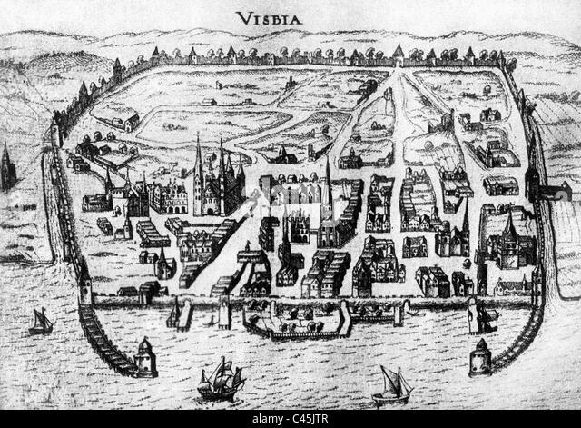 Historische Darstellung von Visby auf Gotland Stockbild