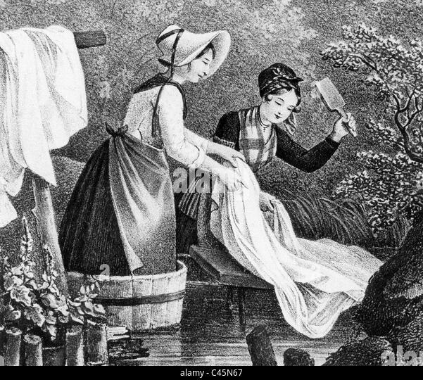Wäsche zu Beginn des 19. Jahrhunderts Stockbild