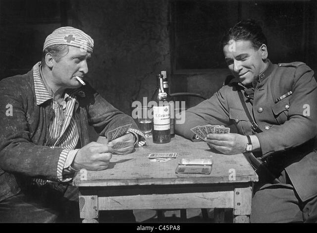 "Hans Albers und Leopold Biberti in ""Rivalen"", 1934 Stockbild"
