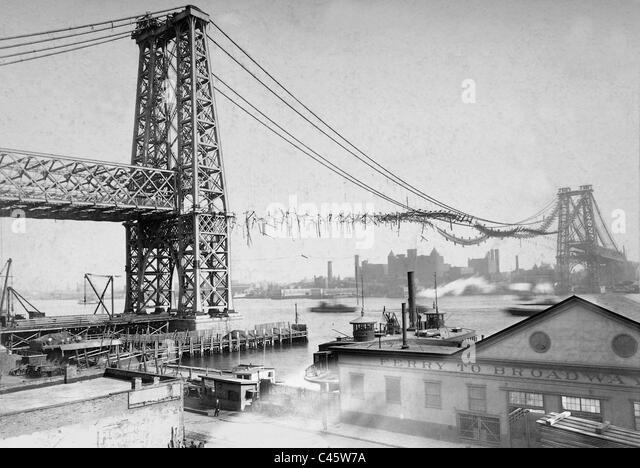 Williamsburg Bridge nach der Brandkatastrophe, 1902 Stockbild