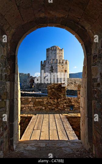"""Griechenland, Messenien Präfektur. Die """"Bourdzi"""" (osmanischen Turm), späterer Zusatz, der venezianischen Stockbild"""