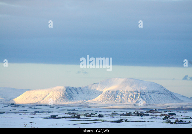 Ward Hill im Winter, Orkney Isles Stockbild