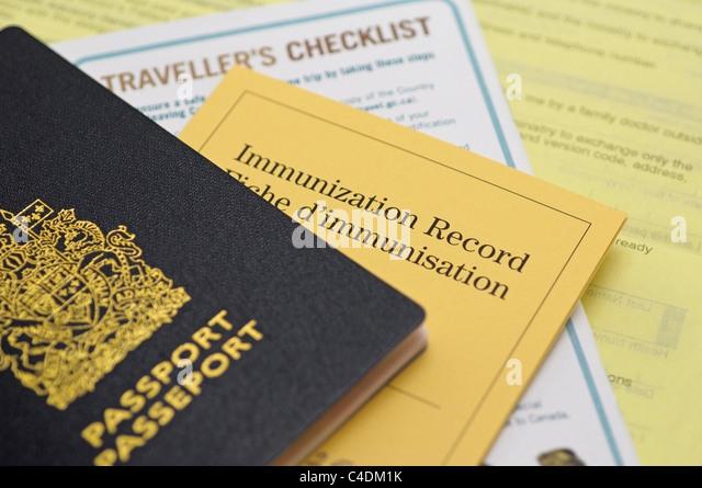 Reisepass, Immunisierung aufnehmen und Reise-Checkliste, Kanada Stockbild