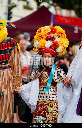 Karneval der Kulturen, Festival,kid,child,dance,feather,costum,beautiful - Stock-Bilder