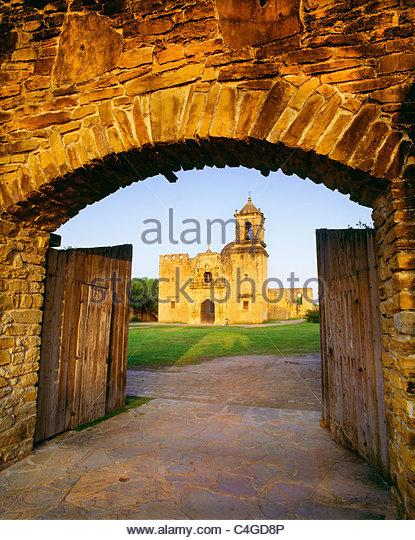 Kirche von [San Jose y San Miguel de Aguayo] [San Antonio Missions nationaler historischer Park] Texas Stockbild