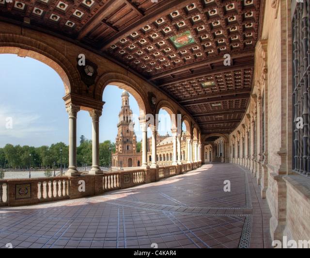 ES - Andalusien: Sevillas berühmten Plaza de Espana Stockbild