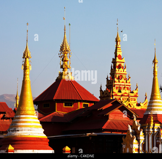 Buddhistische Tempel Dach, Myanmar Stockbild