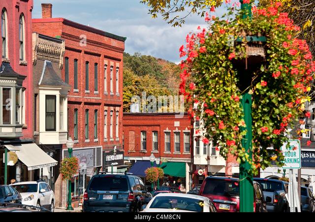 Innenstadt, Camden, Maine, ME, USA Stockbild
