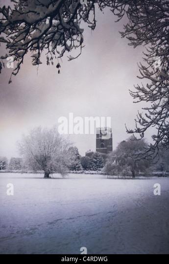 Kirche im winter Stockbild