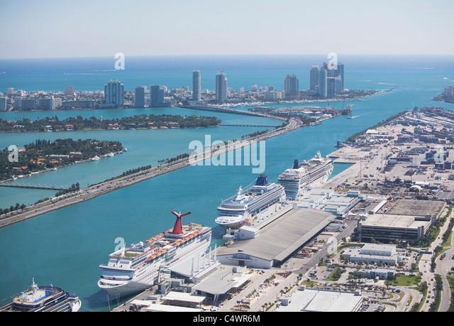 USA, Florida, Miami Hafen aus der Luft gesehen Stockbild