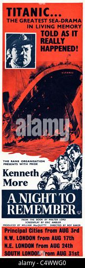 Ursprünglichen Zeit Anzeige im Magazin ca. 1958 Werbung des Films A NIGHT TO REMEMBER über den Untergang Stockbild