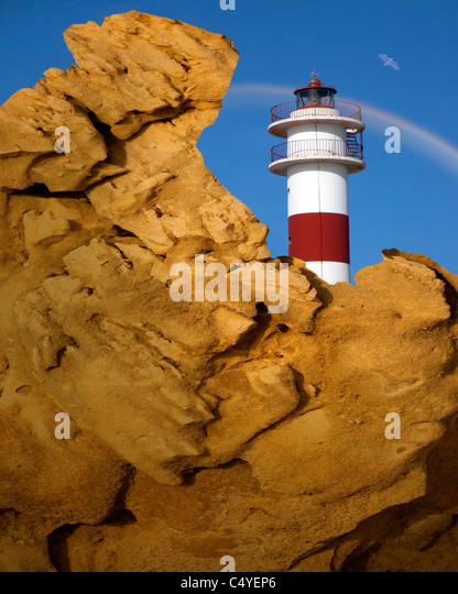 ES - Andalusien: The Lighthouse in Rota, Costa De La Luz Stockbild