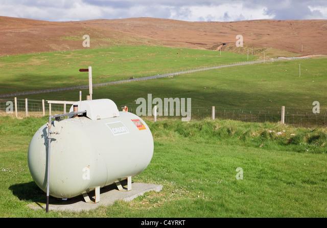 Inländische Calor Gas Tank im Freien in abgelegenen Land Lage. Shetlandinseln, Schottland, Großbritannien, Stockbild