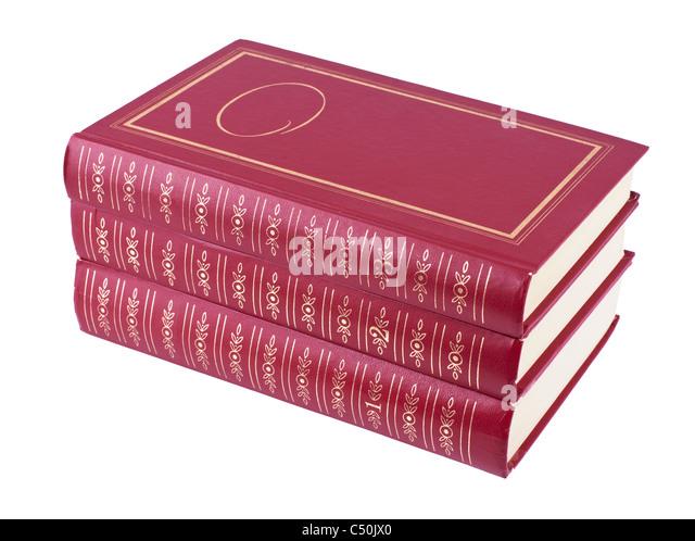 Drei rote horizontale Bücherstapel Stockbild