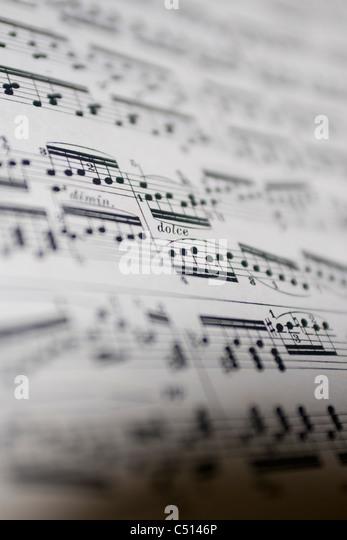 Partitur, close-up Stockbild