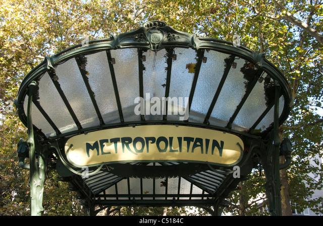 Paris Metro Zeichen Stockbild