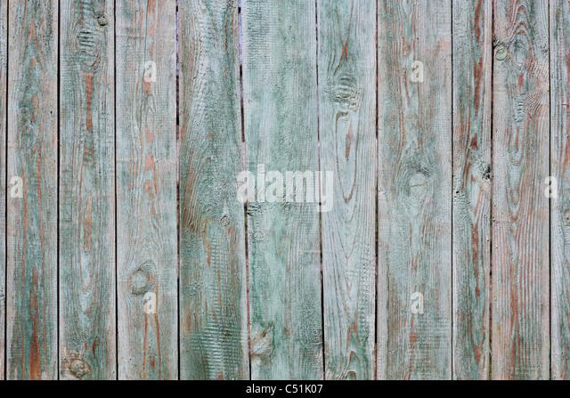 Ein Fragment eines alten lackiert in grün, aus Holz Zaun Stockbild