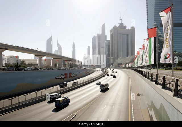 Moderne Architektur, Hochhäuser, Downtown Dubai, Sheikh Zayed Road, Dubai, Vereinigte Arabische Emirate, Nahost Stockbild