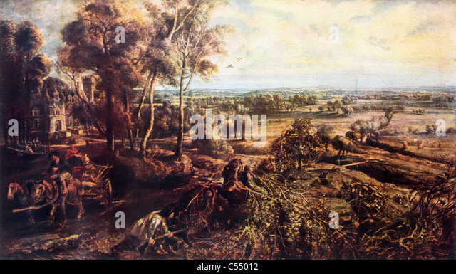 Landschaft, Herbst, mit Blick auf das Chateau de Steen; Gemälde von Sir Peter Paul Rubens, späten flämischen Stockbild