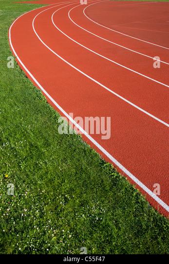 Laufstrecke Fahrspuren für Sportler. Stockbild
