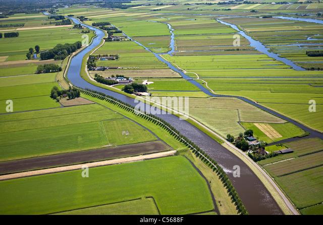 Den Niederlanden, in der Nähe von De Rijp, Polder mit traditionellen Ackerland und Bauernhöfen. Gürtel Stockbild