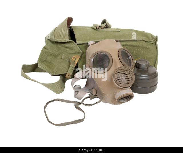 Gasmaske und Tasche mit zusätzlichen filter Stockbild