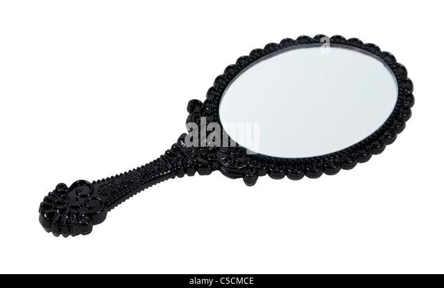 Schwarzen komplizierte Handspiegel für Schönheit Regimenter - Pfad enthalten Stockbild