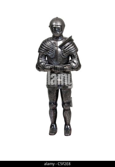Stehen mittelalterliche Ritter tragen Rüstung Schutz und Kraft mit Hände gefaltet - Pfad enthalten Stockbild