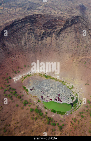 Magado Crater befindet sich an der nordöstlichen Spitze des Nyambeni-Gebirges in Kenia Stockbild