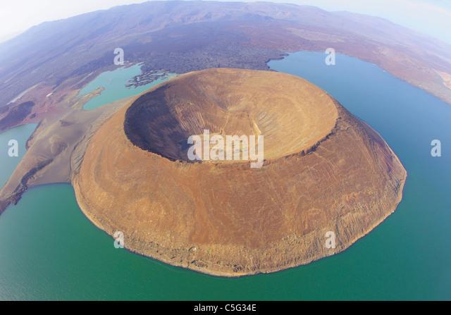 Turkana-See befindet sich im Great Rift Valley in Kenya.It ist der weltweit größte Wüste See. Stockbild