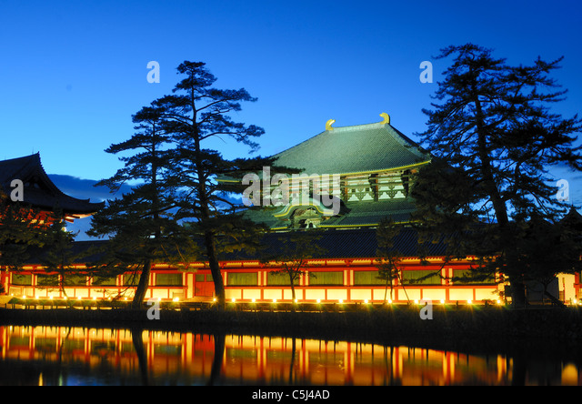 Exterieur des Todaiji, dem weltweit größten Holzgebäude und ein UNESCO-Weltkulturerbe in Nara, Japan. Stockbild